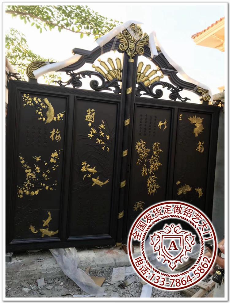 铝艺大门运用在新中式别墅图纸方寸之间