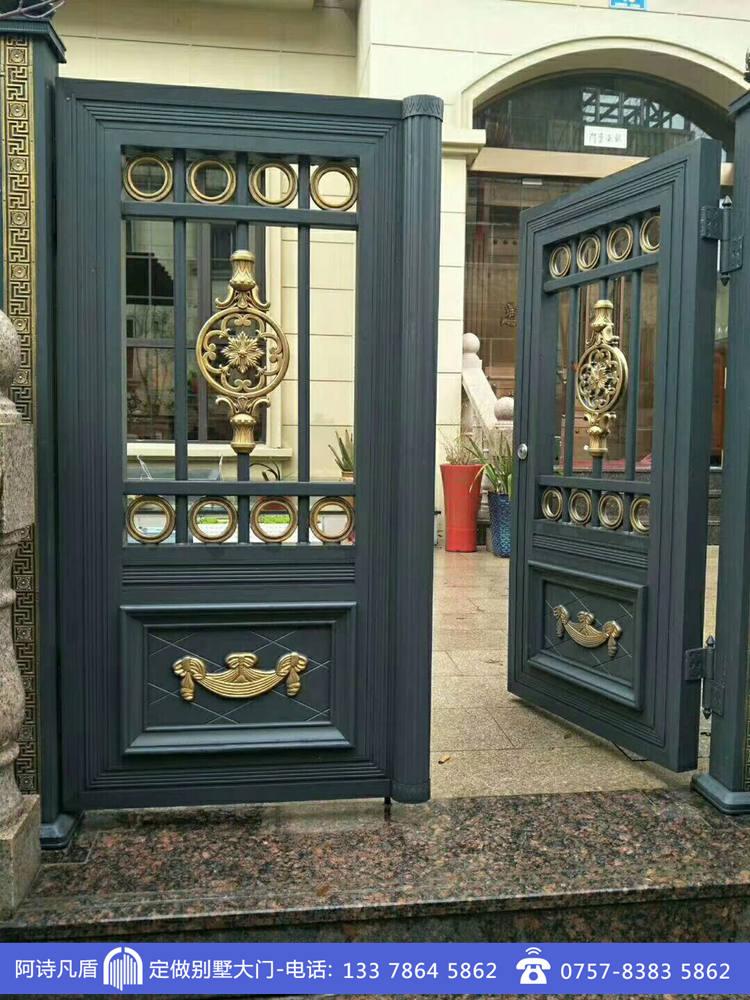 青灰色拼管铝艺门现代装修别墅进户门图片